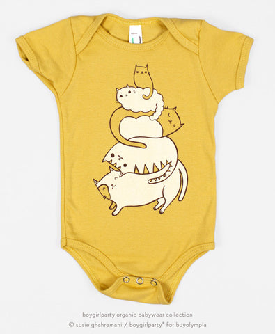 Cat Onesie - Baby Bodysuit (Yellow) by Susie Ghahremani / boygirlparty.com