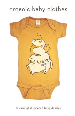Organic Baby Clothes Cat Onesie by boygirlparty