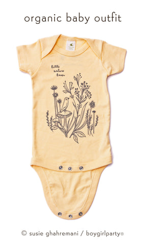 Little Nature Lover Onesie - Organic Baby Onesie (Buttercup Yellow) by Susie Ghahremani / boygirlparty.com