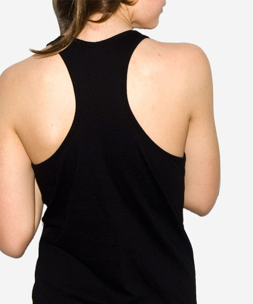 Dressed to Kill Racerback Tank (Black on Black)