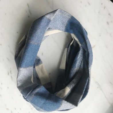 Plaid Flannel Infinity Scarf - Indigo and Cream