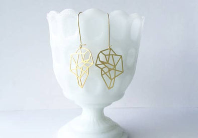 Faceted Geometric Shape Brass Earrings