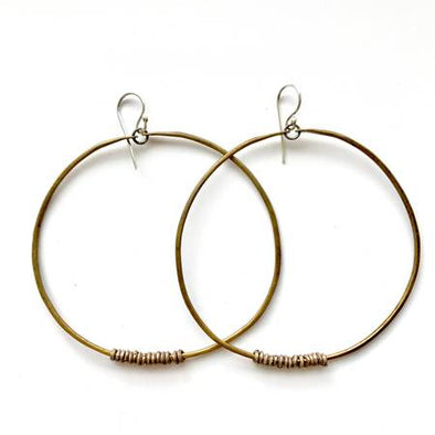 XL Brass Hoop Earrings with Silver Heishi Beads