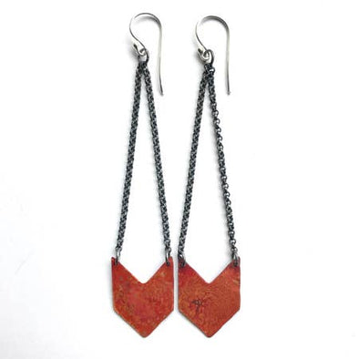 Chevron Earrings - Copper - Single