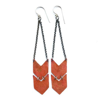 Chevron Earrings - Copper - Double