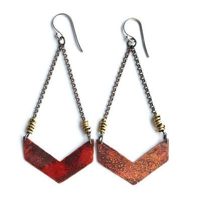 Chevron Earrings - Copper - Wide - Single