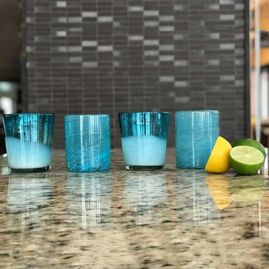 Mexican Handblown Glasses - Set of 4 - Aqua