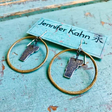 Small Brass Hoop Earrings with Silver Vermonts