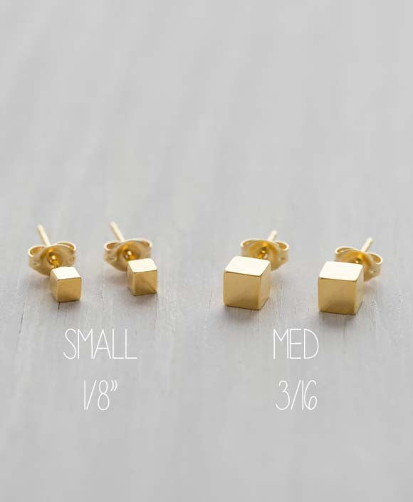 Gold Cube Post Earrings