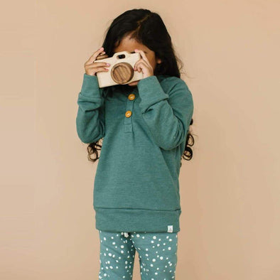 Teal Button Hoodie
