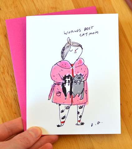 Worlds Best Cat Mom Greeting Card