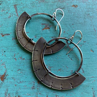 Mezzaluna Earrings - Silver Hoop w/ Thin, Stamped Brass Blade