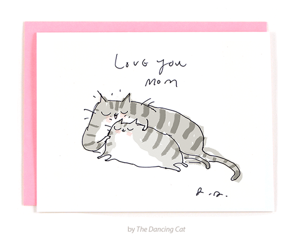 Love You Mom Cat Card
