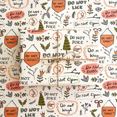 'Do Not Open' Gift Wrap Paper - 3 Sheet Set
