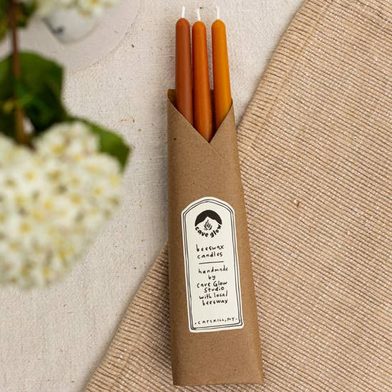 Pure Beeswax Taper Candles - Set of 3