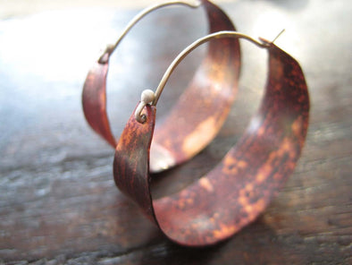 Copper Hoop Earrings Large