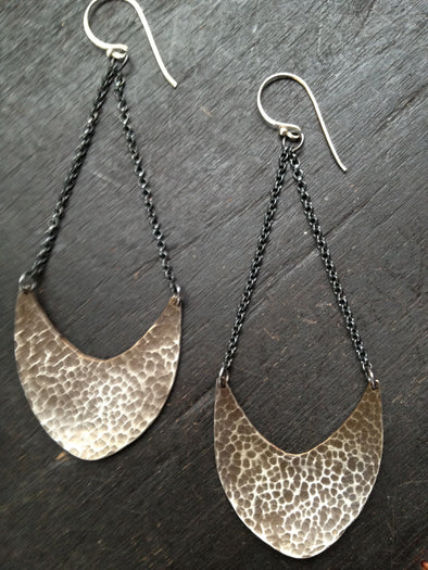 Silver Pendulum Earrings Large