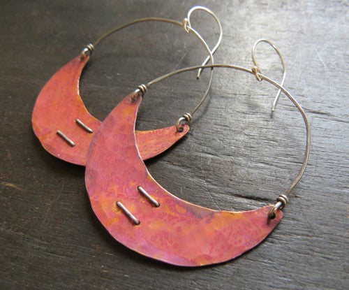 Copper Stitched Crescent Earrings Large