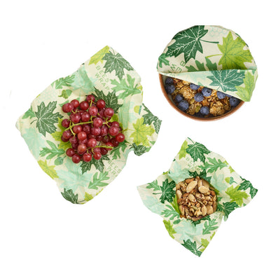 Set of 3 Assorted Wraps, in Forest Floor Print Bee's Wrap