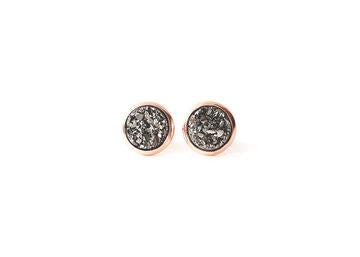 Gunmetal Druzy Earrings in Rose Gold Setting- 8 mm