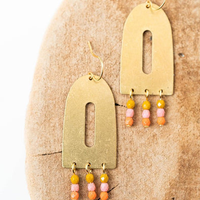 Colorful Brass and Bead Arch Earrings