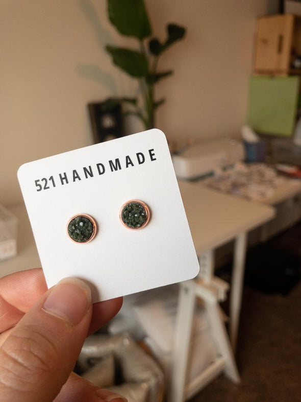 Olive Green Druzy Stud in Rose Gold Setting - 8mm