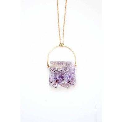 Amethyst Stalactite Slice Arch Necklace