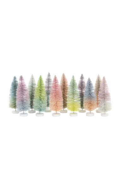 Pastel Sisal Bottle Brush Trees Set