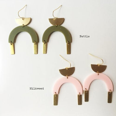 Bison Matte Acrylic and Brass Arch Earrings
