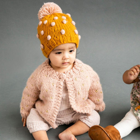 Popcorn Hat - Mustard and Pink