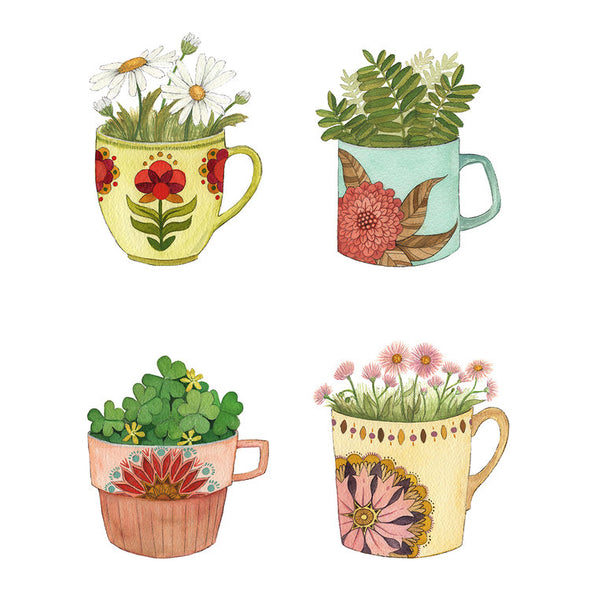 8x10 Art Print:  Botanical: Cup Collection