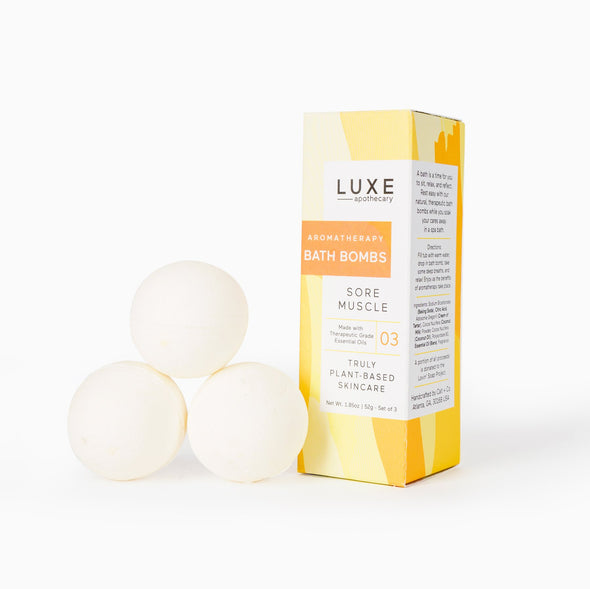Luxe Sore Muscle Aromatherapy Bath Bombs - Box Set of 3