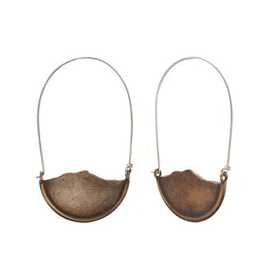 Camel's Hump Small Mountain Dangle Earrings - Bronze