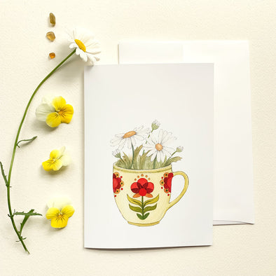 Greeting Card: Cup of Daisies
