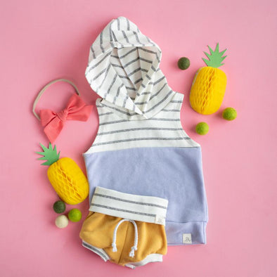Coastal Stripe and Lavender Color Block Sleeveless Hoodie
