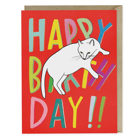 Red Cat Birthday Greeting Card