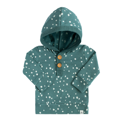Teal Dot Button Hoodie