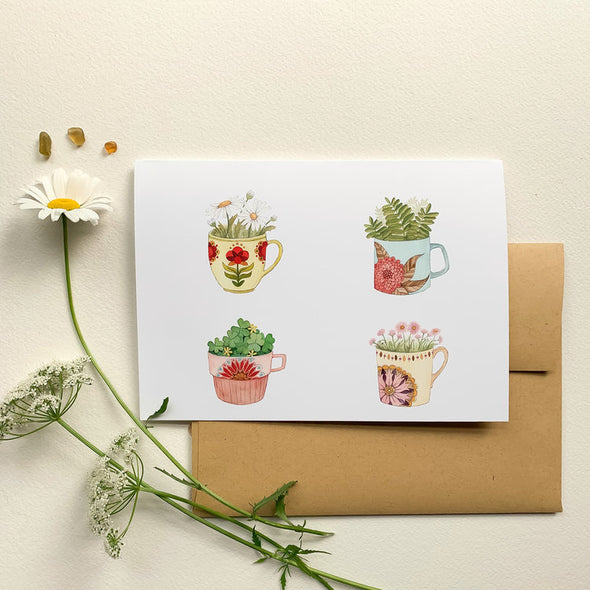 Greeting Card: Botanical: Cup Collection