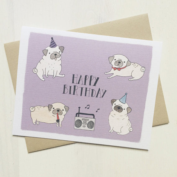 Happy Birthday Pug Party Greeting Card