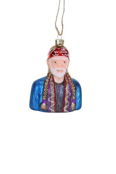 Willie Nelson Glass Ornament
