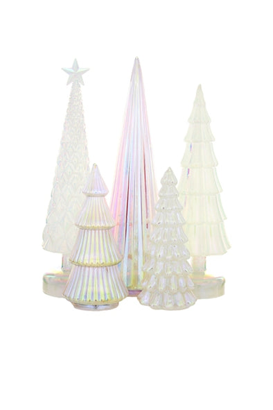 Irridescent Glass Tree Assorted White Tones