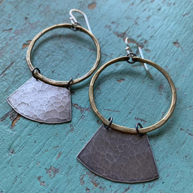 Mezzaluna Earrings - Brass Hoop w/ Wide, Hammered Silver Blade