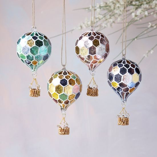 Mosaic Hot Air Balloon Ornament