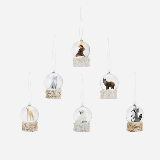 Mini Woodland Animal Water Snow Globe Ornament