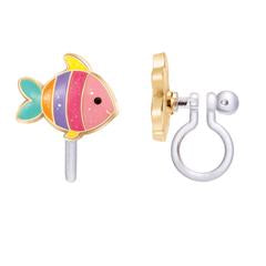 Glitter Rainbow Fish Clip On Cutie Earrings