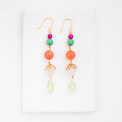 Long Coral and Mixed Bead Earrings