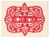 Handprinted letterpress Love Greeting Card