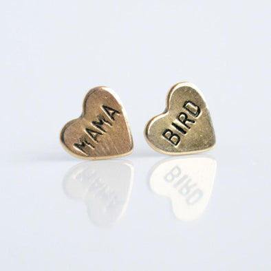Mama Bird Brass Heart Studs