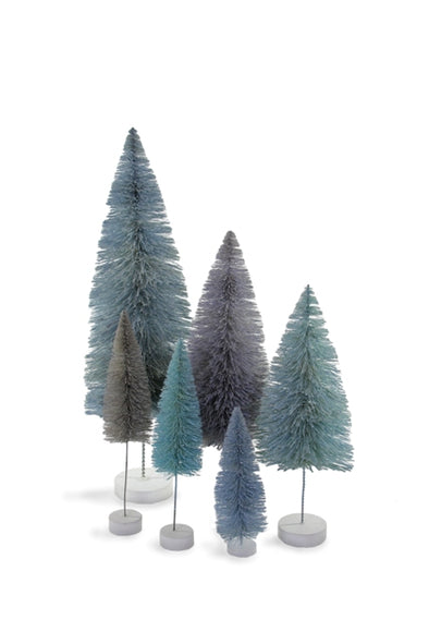 Shades of Winter Blue Sisal Bottle Brush Trees