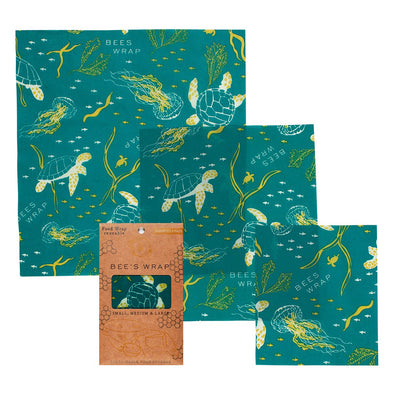 Set of 3 Assorted Wraps in Oceans Print Bee's Wrap
